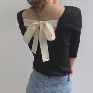 Lily Brown - 𓂃 韓国 ♡ back ribbon knit tops 𓂃