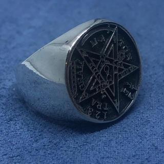 テトラグラマトン 五芒星 シルバー925リング  オーバル シグネット銀 魔術師(リング(指輪))