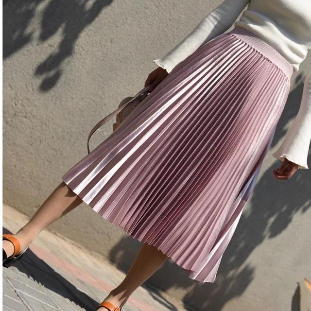 GRACE CONTINENTAL(グレースコンチネンタル)のウエストゴムプリーツスカート ライトピンク インポート レディースのスカート(ひざ丈スカート)の商品写真