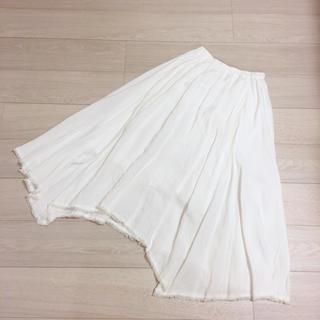 Plage - yori ヨリ リネン フリンジ スカート ホワイト