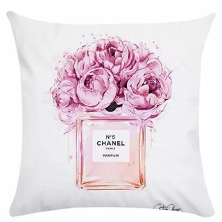 Francfranc - 新作 クッションカバー  COCOロゴ インテリア ファッション ピンク 白 花