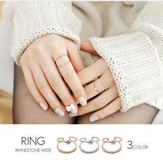 ☆ラインストーン☆2連リング☆指輪☆ゴールド☆シルバー☆ピンクゴールド (リング(指輪))