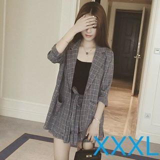 【XXXL/グレー】セットアップスーツ ショートパンツスーツ(スーツ)