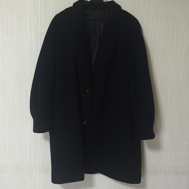 vintage ブラック ウールコート レディースのジャケット/アウター(チェスターコート)の商品写真