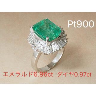 エメラルド 6.96ct ダイヤ Pt900 リング  指輪 ダイヤモンド(リング(指輪))