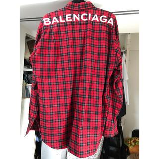 Balenciaga - BALENCIAGA チェックシャツ 赤