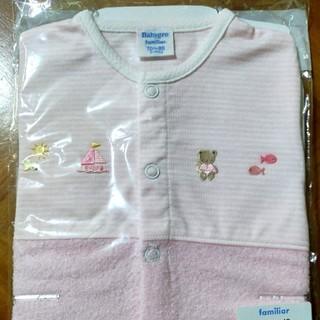 familiar - 新品◆ファミリア 袖付 ロンパース 半袖 ショートオール 70  80