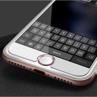 スマホ ホームボタンシール 白 ピンク アルミ Apple商品対応 指紋認証(その他)