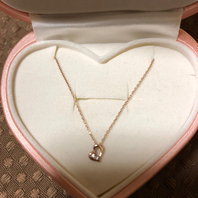 THE KISS(ザキッス)のザキッス プチハートネックレス 華奢 ダイヤ 10金 k10 ピンクゴールド レディースのアクセサリー(ネックレス)の商品写真