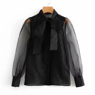 ザラ(ZARA)の♡ black chiffon blouse ♡(シャツ/ブラウス(長袖/七分))