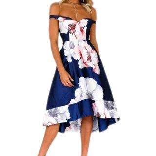 ジュエルズ(JEWELS)のLIPSY系♡ 大花柄 オフショル ミディアム ドレス XL(ミディアムドレス)
