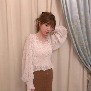 ワンアフターアナザーナイスクラップ(one after another NICE CLAUP)のcattykitten shirring dot blouse(シャツ/ブラウス(長袖/七分))