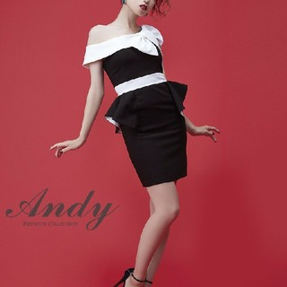Andy - Andy リボンオフショルバイカラーペプラムタイトミニドレス ワンピース キャバ