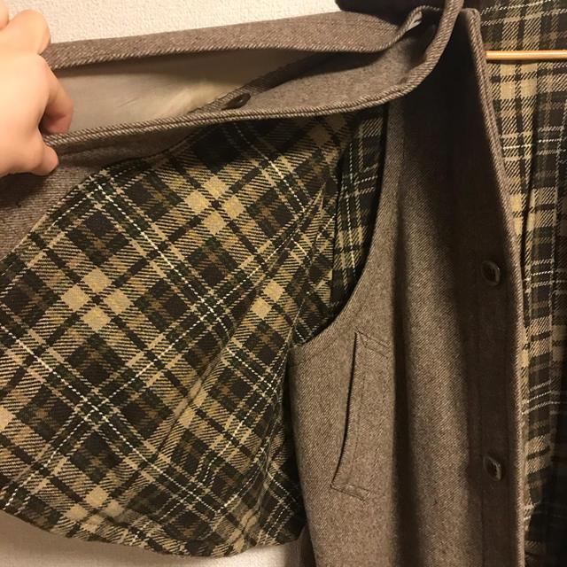 vintage ハンドメイド ポンチョコート ファーコート オーバーコート 古着 メンズのジャケット/アウター(ステンカラーコート)の商品写真