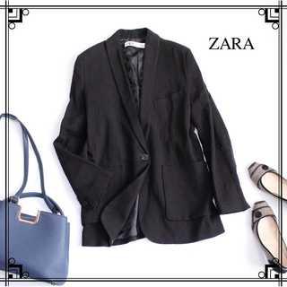 ZARA - ザラ★リネン混 テーラードジャケット S(日本M~L) 黒 ゆったり ざっくり