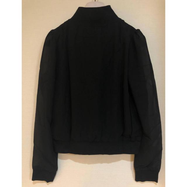 GRL(グレイル)の【新品】GRL グレイル レディース ジップアップ シースルー ブルゾン M 黒 レディースのジャケット/アウター(ブルゾン)の商品写真