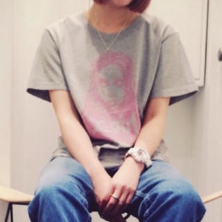 X-girl - 数回のみ 🍎 フェイス柄Tシャツ