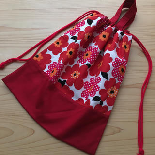 持ち手付き 赤花 体操袋 ( 巾着袋 )