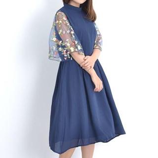 メルロー(merlot)のSALE【merlot plus】花刺繍チュール袖ワンピース(ミディアムドレス)
