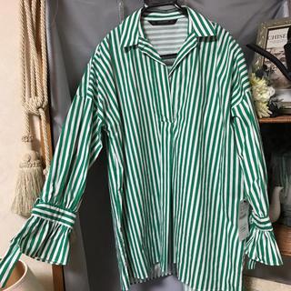 ZARA - 【新品】チェック柄 オーバーサイズチュニックシャツ