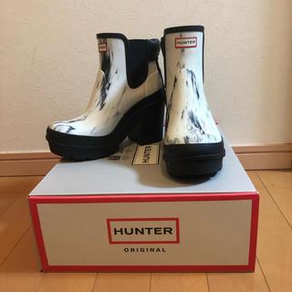 HUNTER - ハンター 長靴 レインブーツ ショート ヒール ホワイト