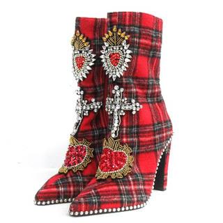イエローブーツ(Yellow boots)のYELLO/赤チェックブーツ(ブーツ)