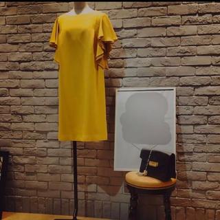Ray BEAMS - カラーワンピースドレス 結婚式 黄色 パーティ お呼ばれ 顔合わせ 食事会 挨拶
