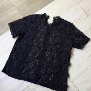 【同梱限定】総レース半袖トップス 黒(カットソー(半袖/袖なし))