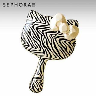 ハローキティ(ハローキティ)の新品レア☆ Sephora x hello kitty ヘアブラシ ゼブラ柄(ヘアブラシ/クシ)
