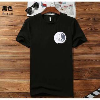 在庫処分 半袖 Tシャツ メンズ レディース  ワンポイントデザイン♪ L 黒(Tシャツ/カットソー(半袖/袖なし))