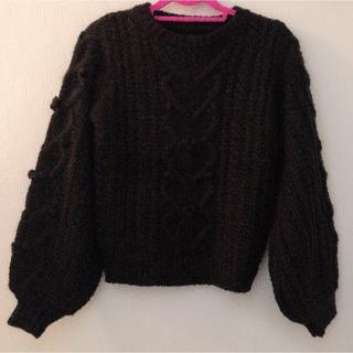 アンクルージュ(Ank Rouge)のAnk Rouge ハート ケーブル編み ニット セーター ブラック 2018年(ニット/セーター)