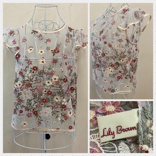Lily Brown - リリーブラウン フラワー刺繍チュールトップス