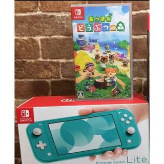 ニンテンドースイッチ(Nintendo Switch)のニンテンドースイッチライト 本体 ターコイズ Switch あつまれどうぶつの森(家庭用ゲーム機本体)