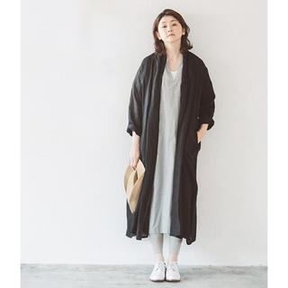 08mab シャンブレーローブコート リネン羽織り