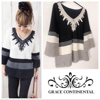 GRACE CONTINENTAL - 美品♡モチーフ刺繍トップス