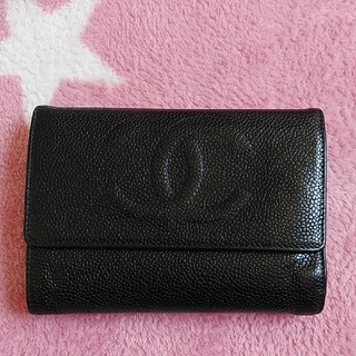 CHANEL - CHANEL 三つ折財布  キャビアスキン