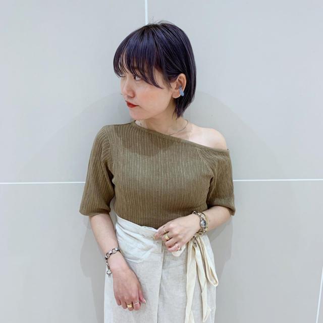 Kastane(カスタネ)のジャガード楊柳半袖Tee レディースのトップス(Tシャツ(半袖/袖なし))の商品写真