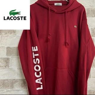 LACOSTE - ラコステ パーカー プルオーバー 刺繍ロゴ ワインレッド