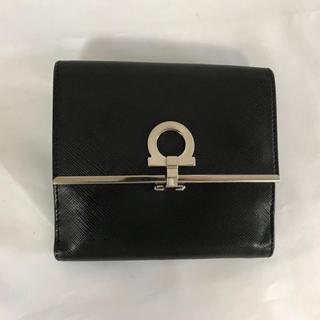 Ferragamo - 本物サルヴァトーレフェラガモ本革レザー二つ折りコンパクト財布サイフ札入れ黒