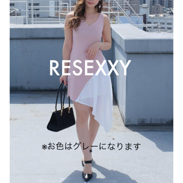 RESEXXY(リゼクシー)のノースリ異素材ドッキングニットワンピ レディースのワンピース(ひざ丈ワンピース)の商品写真