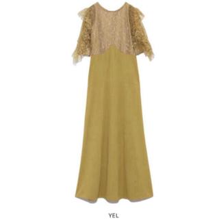 リリーブラウン(Lily Brown)の新品 完売品! リリーブラウン フリル レース ドレス ワンピース イエロー(ロングドレス)