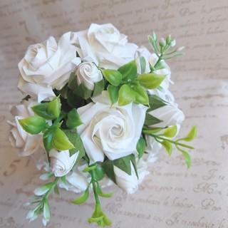 白薔薇のミニ花束 折り紙 枯れない薔薇(その他)
