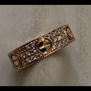 カルティエ(Cartier)のカルティエ   ラブリング  ダイヤ ピンクゴールド 12号 保証書 鑑別書付(リング(指輪))