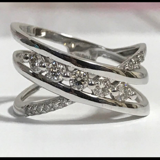 最終価格!美品 K18WG ダイヤモンド リング 12号 幅広 オシャレ(リング(指輪))