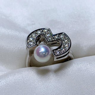 ミラショーン k18wg パール  ダイヤモンド リング(リング(指輪))