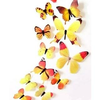 3D バタフライ 蝶 ウォール ステッカー イエロー 12枚入り 立体 壁