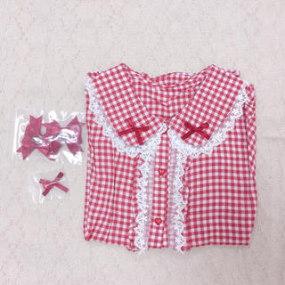 ケイティー(Katie)のチェックレースリボン半袖ブラウスシャツ(シャツ/ブラウス(半袖/袖なし))