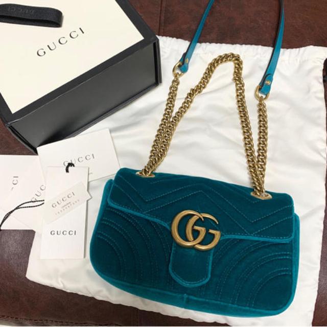 Gucci - GUCCI  GGマーモント チェーンバッグ ベロアミニバッグ ショルダーバッグの通販