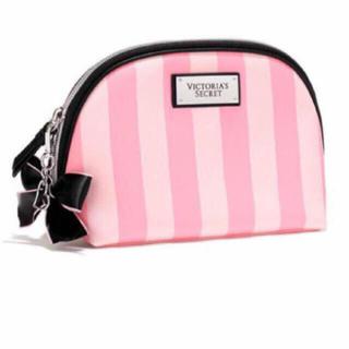 Victoria's Secret - 未使用 ヴィクトリアシークレット リボンつき ポーチ ストライプ  ピンク