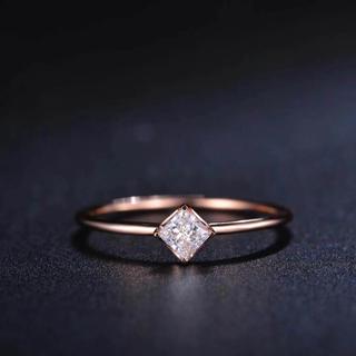 【newデザイン】可愛いプリンセス モアサナイト  ダイヤ リング(リング(指輪))